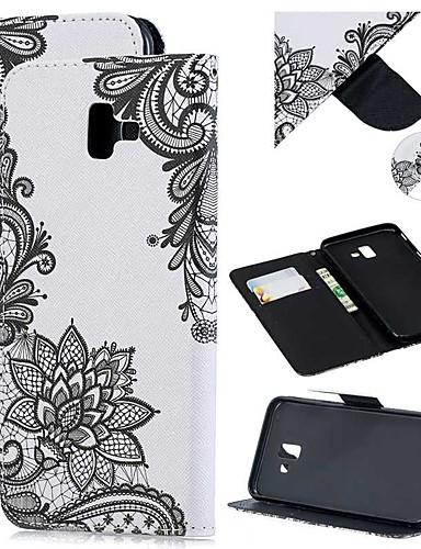 Capinha Para Samsung Galaxy J8 (2018) / J7 (2017) / J6 (2018) Carteira / Porta-Cartão / Antichoque Capa Proteção Completa Flor PU Leather