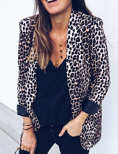 Dame Blazer, Leopard Hakkjakkeslag Polyester Brun