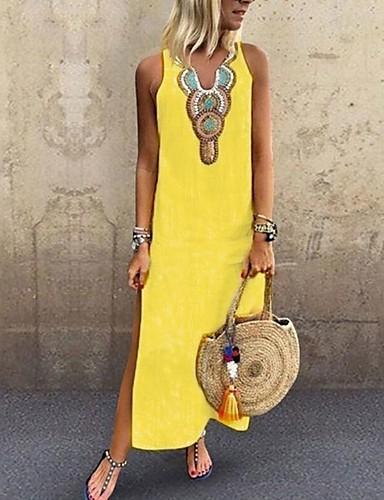 levne Maxi šaty-Dámské Větší velikosti Cikánský Elegantní Štíhlý Shift Šaty - Jednobarevné Etno, Rozparek Patchwork Maxi Do V