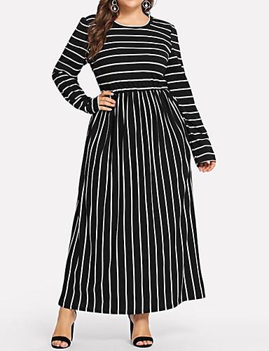 voordelige Grote maten jurken-Dames Standaard Abaya Kaftan Jurk - Gestreept Maxi