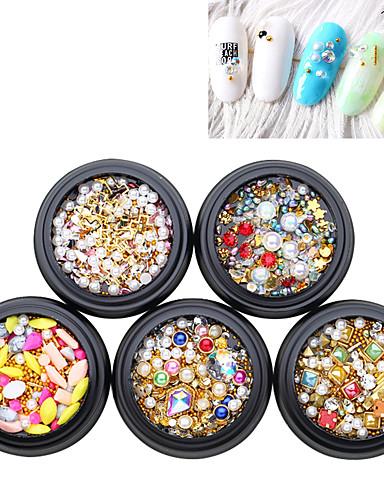 5 pcs Κρυστάλλινο / Θήκες Καλυμμένες με Κοσμήματα / 3D Διεπαφή Μαργαριτάρι Πέρλες Στρας Για Νύχι Χεριού Σειρά Κοσμημάτων Δημιουργικό τέχνη νυχιών Μανικιούρ Πεντικιούρ