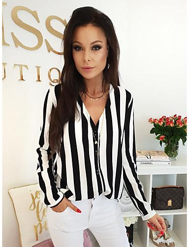 billige Skjorter til damer-V-hals Skjorte Dame - Stripet, Trykt mønster Forretning / Gatemote Svart