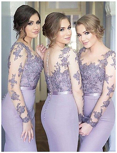 cheap Bridesmaid Dresses-Mermaid / Trumpet Jewel Neck Floor Length Chiffon Bridesmaid Dress with Sash / Ribbon / Buttons / Bell Sleeve