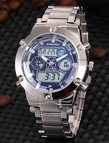 preiswerte ASJ®-Herrn Uhr Armbanduhr Japanisch Edelstahl Silber 30 m Wasserdicht Alarm Kalender Analog-Digital Luxus Weiß Blau / Zwei jahr / Chronograph / LCD / Duale Zeitzonen / Zwei jahr