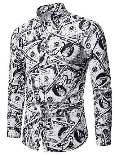 Opprett krage EU / USA størrelse Skjorte Herre - Ensfarget Grunnleggende Hvit / Langermet