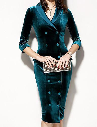 levne Pracovní šaty-Dámské Šik ven Čínské vzory Shift Pouzdro Šaty - Jednobarevné Midi