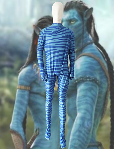 billige Zentai-Cosplay Kostumer Avatar Barne Lycra® Cosplay-kostymer Fotløse Strømperbukser Blå 3D