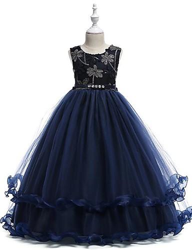 Prinsesse Gulvlang Blomsterpikekjole - Bomull / Polyester / Tyll Ermeløs Besmykket med Appliqué / Niveauer