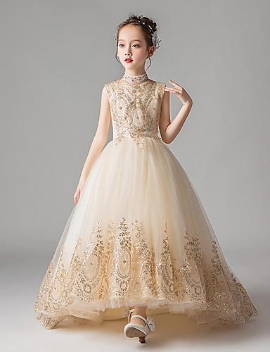 levne Krásné šaty-Princess Velmi dlouhá vlečka Šaty pro květinovou družičku - Polyester Bez rukávů Klenot s Aplikace podle LAN TING Express