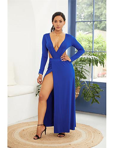 voordelige Maxi-jurken-Dames Vintage Elegant Bodycon Jurk - Effen, Blote rug Split Asymmetrisch