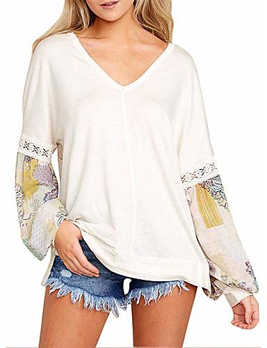 billige T-skjorter til damer-Løstsittende V-hals T-skjorte Dame - Geometrisk Bohem Ferie Hvit