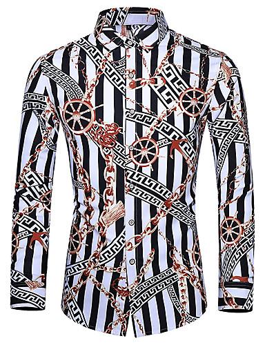 voordelige Herenoverhemden-Heren Standaard Print Overhemd Gestreept Wit
