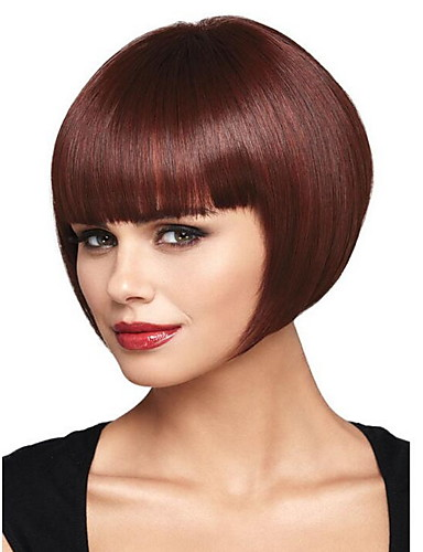 cheap New Arrivals-Synthetic Wig Straight With Bangs Wig Burgundy Short Brown / Burgundy Synthetic Hair 28 inch Women's Women Burgundy