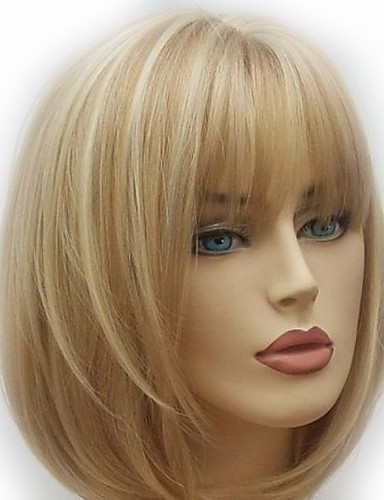 cheap 11.11 - Wigs & Hair Pieces Best Sale-Synthetic Wig Natural Straight Style Layered Haircut Wig Golden Medium Length Light golden Synthetic Hair 28~32 inch Women's New Arrival Golden Wig