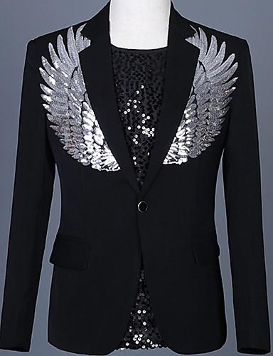 voordelige Heren T-shirts & tanktops-Heren Blazer, Kleurenblok Puntige revers Polyester Wit / Zwart