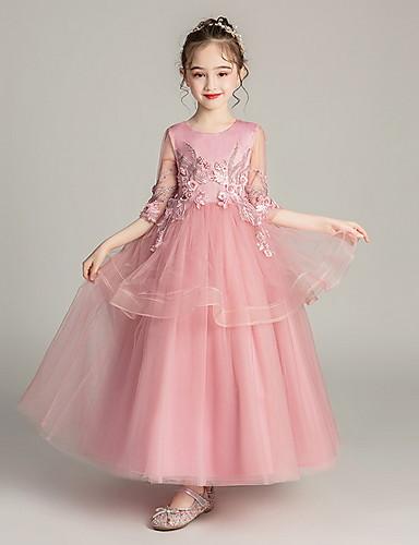 levne Krásné šaty-Princess Po kotníky Šaty pro květinovou družičku - Polyester Poloviční rukáv Klenot s Vrstvené podle LAN TING Express