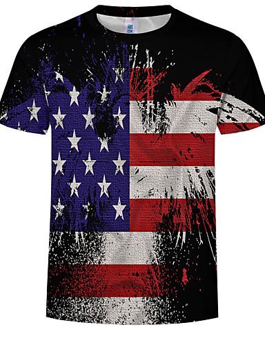 Ανδρικά Μέγεθος EU / US T-shirt Συνδυασμός Χρωμάτων / 3D / Tribal Στρογγυλή Λαιμόκοψη Στάμπα Ουράνιο Τόξο / Κοντομάνικο