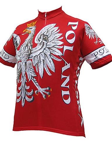 povoljno Odjeća za vožnju biciklom-21Grams Orao Poljska Državne zastave Muškarci Kratkih rukava Biciklistička majica - Crvena Bicikl Biciklistička majica Majice Prozračnost Ovlaživanje Quick dry Sportski Terilen Brdski biciklizam