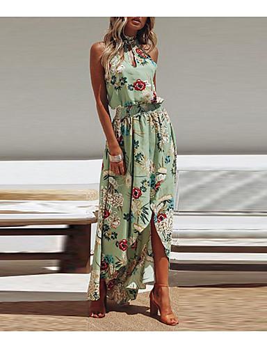 voordelige Maxi-jurken-Dames Feest Strand Boho Street chic Katoen Slank Schede Wijd uitlopend Jurk - Bloemen, Blote rug Split Print Halter Maxi / Sexy