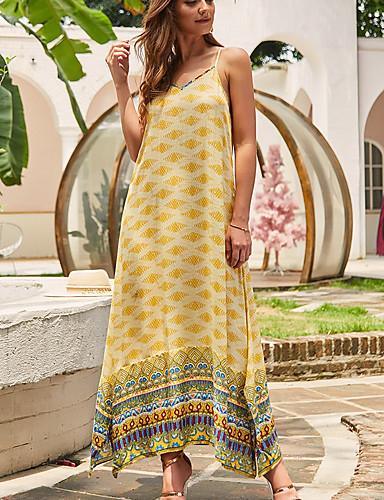 Χαμηλού Κόστους Για νεαρές γυναίκες-Γυναικεία Φόρεμα με λεπτή τιράντα Μίντι φόρεμα - Αμάνικο Γεωμετρικό Στάμπα Μπόχο Αργίες Ρουμπίνι Πράσινο του τριφυλλιού Τ M L XL