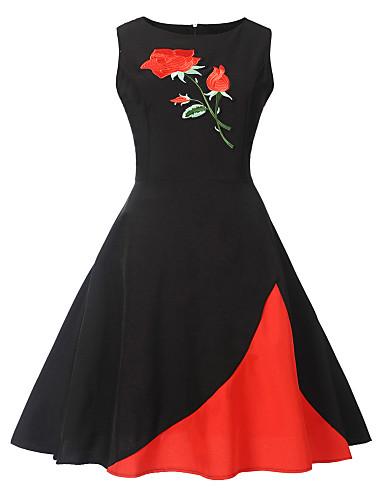 Mulheres Vintage Evasê Vestido - Estampado, Floral Animal Altura dos Joelhos Rose