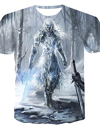 Bomull Rund hals T-skjorte Herre - Geometrisk / 3D, Trykt mønster Punk & Gotisk Grå / Kortermet