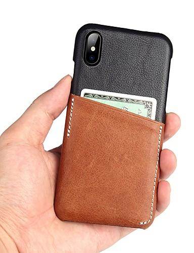 Capinha Para Apple iPhone XS / iPhone XR / iPhone XS Max Porta-Cartão Capa traseira Sólido couro legítimo