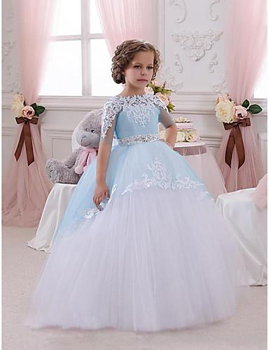 Πριγκίπισσα Μακρύ Φόρεμα για Κοριτσάκι Λουλουδιών - Δαντέλα / Τούλι Κοντομάνικο Με Κόσμημα με Διακοσμητικά Επιράμματα / Δαντέλα / Κρύσταλλοι / Στρας