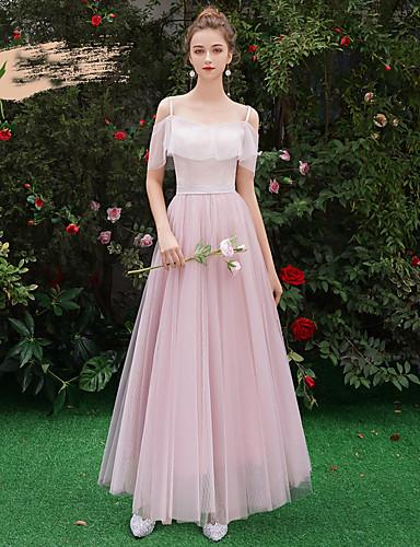 Γραμμή Α Λεπτές Τιράντες Μακρύ Μήκος Τούλι Φόρεμα Παρανύμφων με Βολάν