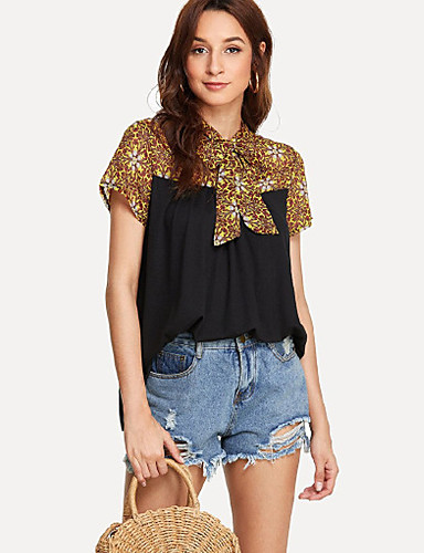 billige T-skjorter til damer-Løstsittende T-skjorte Dame - Galakse, Blondér / Lapper Grunnleggende Svart