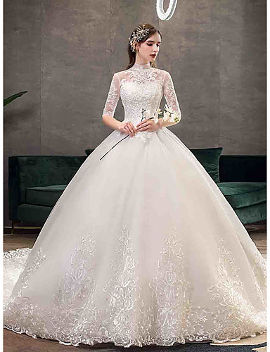 cheap Wedding Dresses-Ball Gown High Neck Chapel Train Tulle Half Sleeve Simple Illusion Sleeve Wedding Dresses with Appliques 2020