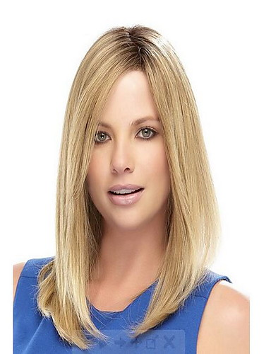 cheap New Arrivals-Synthetic Wig Straight With Bangs Wig Blonde Medium Length Light golden Synthetic Hair 45 inch Women's Women Blonde