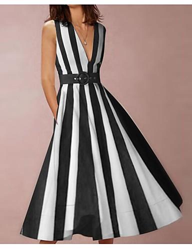Damen Grundlegend A-Linie Kleid - Patchwork, Gestreift ...