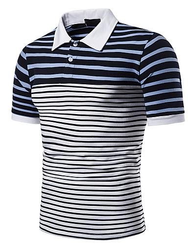 Tynn Rund hals EU / USA størrelse T-skjorte Herre - Stripet Blå / Kortermet