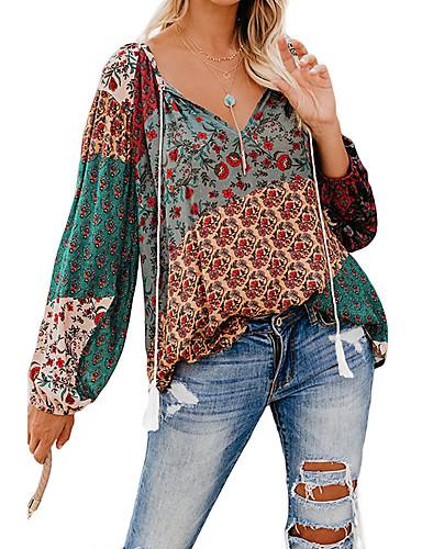 billige Skjorter til damer-V-hals Skjorte Dame - Blomstret, Trykt mønster Grunnleggende Hvit