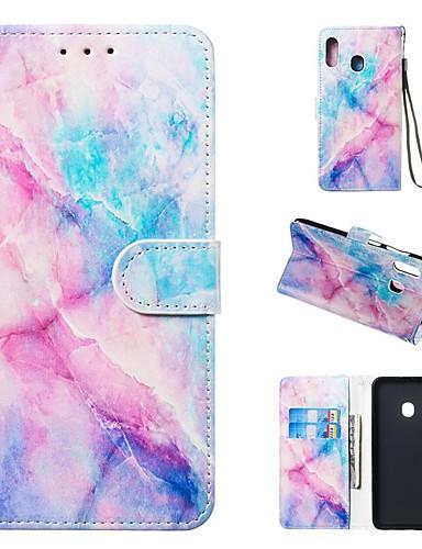 Etui Til Samsung Galaxy A5(2018) / A6 (2018) / A6+ (2018) Lommebok / Kortholder / med stativ Heldekkende etui Marmor Hard PU Leather