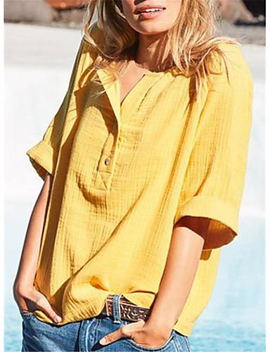 preiswerte Damen-Oberteile-Damen Solide - Grundlegend T-shirt Patchwork Grün