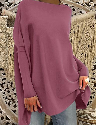 billige Dametopper-Oversized Store størrelser T-skjorte Dame - Ensfarget Grunnleggende Dusty Rose Vin