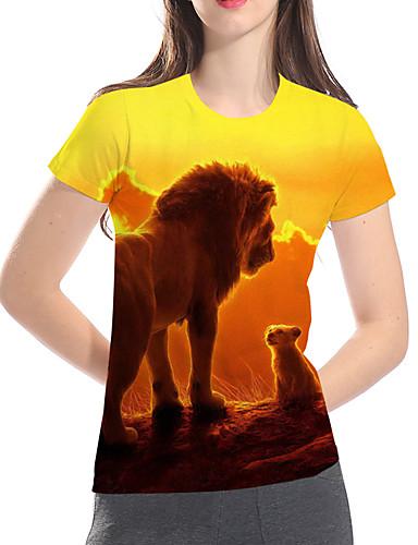 billige Dametopper-Løstsittende Store størrelser T-skjorte Dame - Geometrisk / 3D / Dyr, Trykt mønster Grunnleggende / overdrevet Gul
