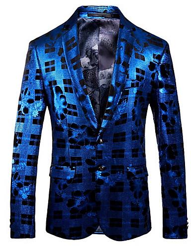 Herre Blazer, Geometrisk Hakkjakkeslag Polyester Blå