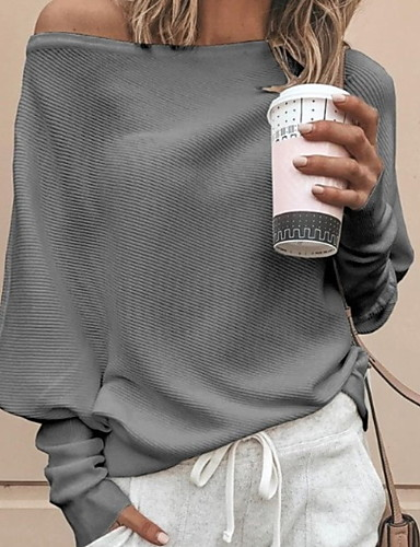billige Oversize Sweater-Dame Ensfarget Langermet Løstsittende Pullover Genserjumper, Løse skuldre Svart / Hvit / Rød S / M / L