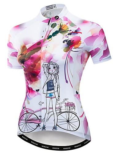 povoljno Biciklističke majice-WEIMOSTAR Žene Kratkih rukava Biciklistička majica Pink Cvjetni / Botanički Bicikl Biciklistička majica Majice Brdski biciklizam biciklom na cesti Prozračnost Ovlaživanje Quick dry Sportski Poliester