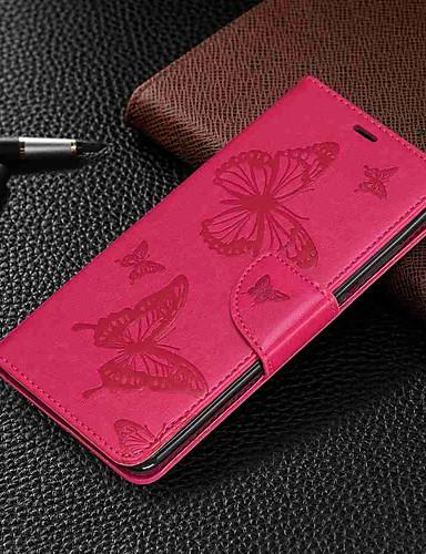 Capinha Para Xiaomi Xiaomi Redmi 6 Pro / Xiaomi Redmi Note 7 / Xiaomi Redmi 7 Carteira / Porta-Cartão / Com Suporte Capa Proteção Completa Borboleta Rígida PU Leather