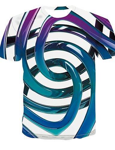 Ανδρικά Μεγάλα Μεγέθη T-shirt Βασικό Συνδυασμός Χρωμάτων Στρογγυλή Λαιμόκοψη Θαλασσί / Κοντομάνικο