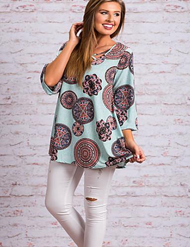 billige T-skjorter til damer-Bomull Løstsittende V-hals T-skjorte Dame - Grafisk / Tribal, Kryss Gatemote / Elegant Blå