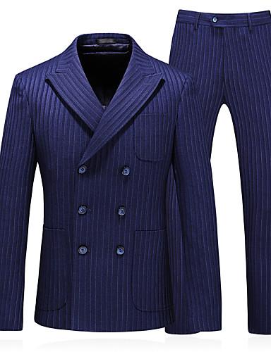 voordelige Herenblazers & kostuums-Heren Pakken, Effen Puntige revers Polyester Marine Blauw / Slank