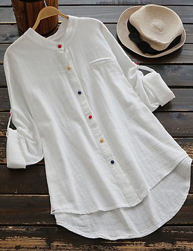 billige Dametopper-Løstsittende Skjorte Dame - Ensfarget, Lapper Grunnleggende / Chinoiserie Blå