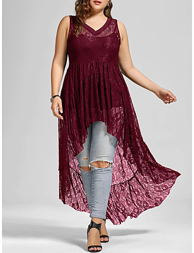 levne Šaty velkých velikostí-Dámské Swing Šaty - Jednobarevné, Krajka Vystřižený Midi