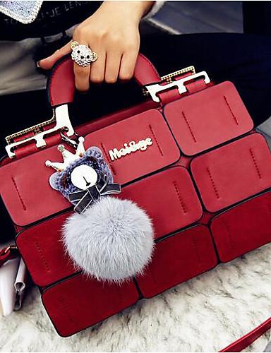 cheap 11.11 - Women's Bags Best Seller-Women's PU(Polyurethane) / PU Top Handle Bag Solid Color Black / Purple / Red