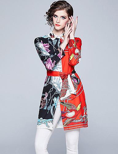 billige Skjorter til damer-Skjortekrage Skjorte Dame - Grafisk, Blondér / Trykt mønster Vintage / Elegant Rød